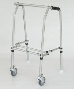 Aluminium Folding Adjustable Walker  SHORT – 2 Castors / 2 Glide Feet